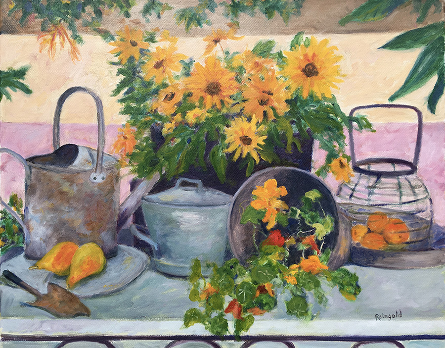 Garden Pots with Flowers and Fruit