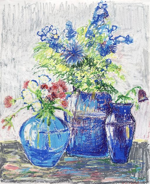Blue Pots with Flowers